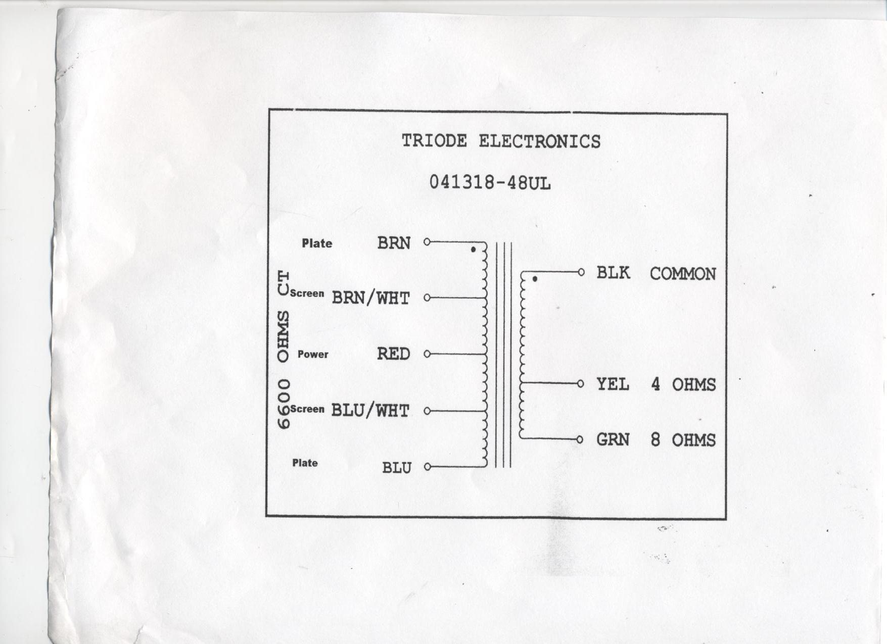 tf110 48 ul deluxe style ultra linear output transformer 4 8 ohm wiring diagram