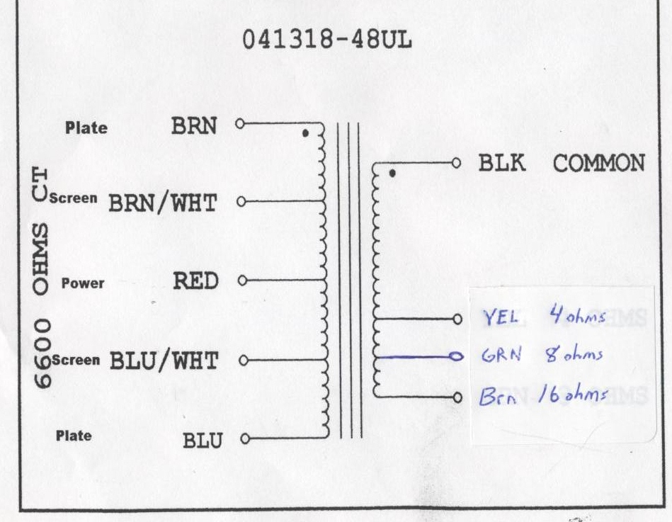 Output Transformer Wiring Diagram : Tf ul deluxe output transformer ohm paper